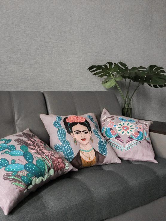 подушки льняные с ручной росписью
